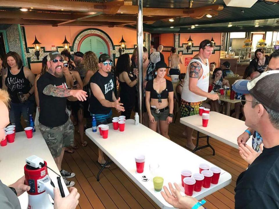 Beer pong with John Connolly of Sevendust and Mark Tremonti of Alterbridge (photo by Jarrod Vrazel / ZRock)