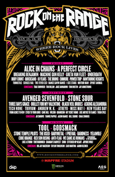 rock on the range 2018 daily lineup