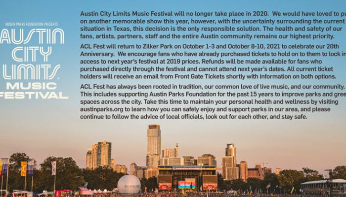 Austin City Limit cancelled