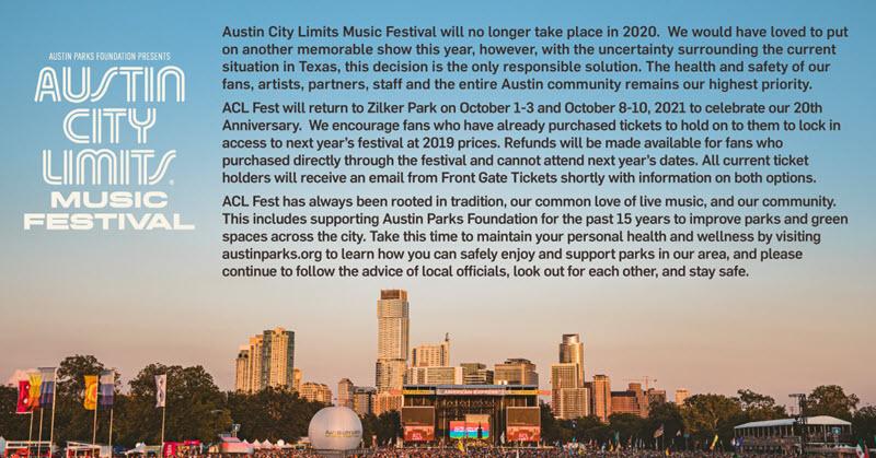Austin City Limit cancelled